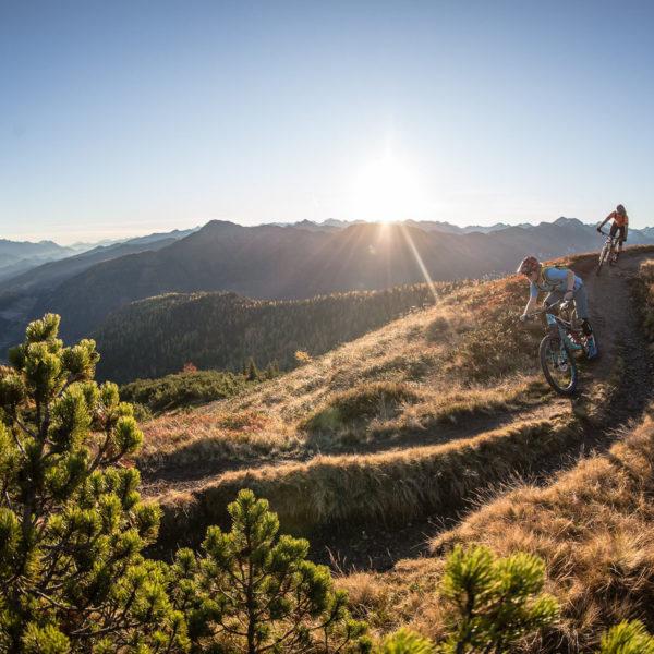 Mountainbiker auf Almweg